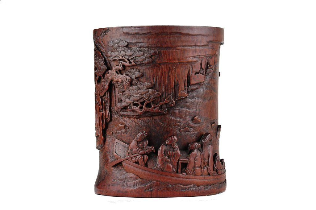 A carved bamboo brush pot 18th/19th cent.