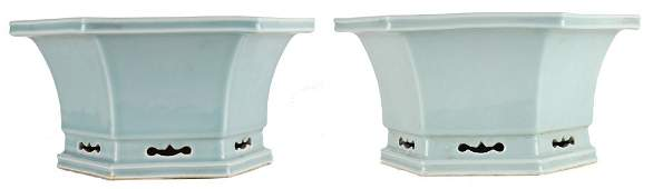 A pair of celadon porcelain planters 19th cent.