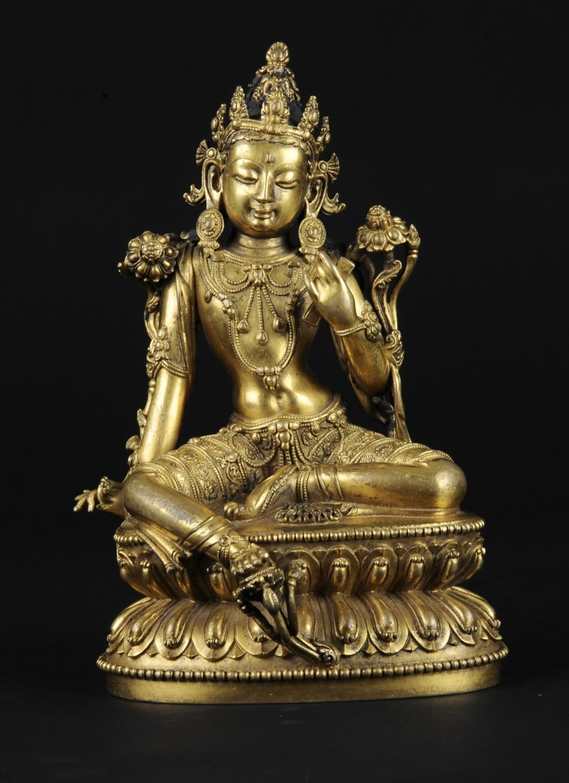 Gilt Bronze Seated Green Tara, Ming Dynasty