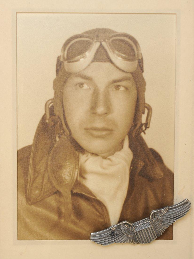 USAAF WWII Pilot Photograph & Pilot Wing