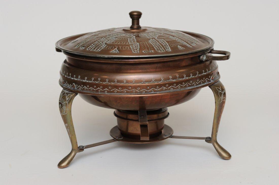 A Persian 5 Piece Copper Fondue Pot Set