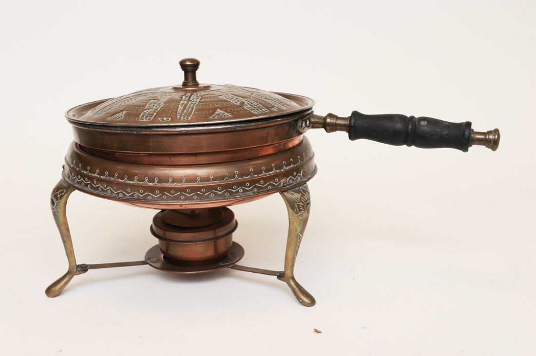 A Persian 5 Piece Copper Fondue Pot Set - 5