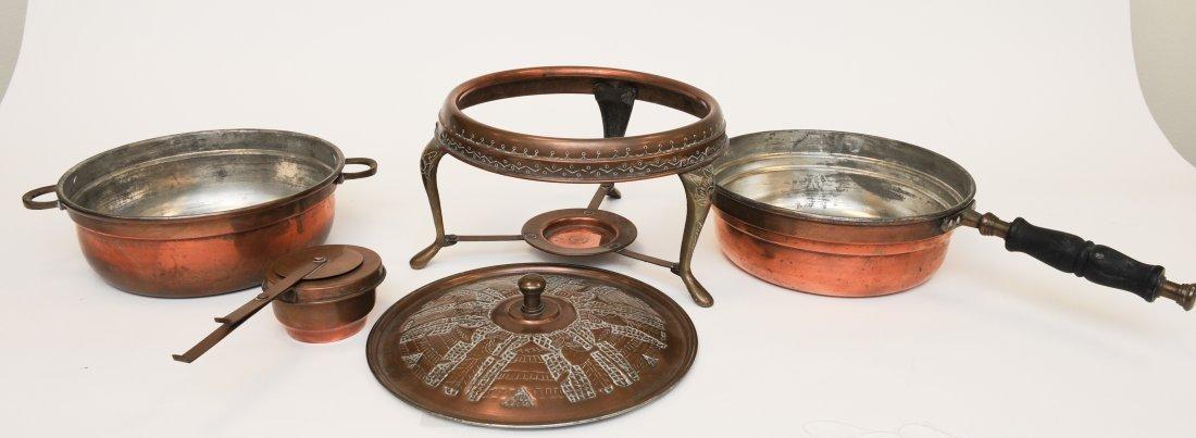 A Persian 5 Piece Copper Fondue Pot Set - 6