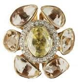 Yellow Diamond & Pink-Orange Sapphire Ring