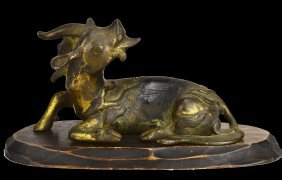 Gilded Bronze Single Horned Qilin, Ming Dynasty