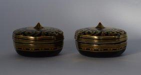 Two Gilt & Black Lidded Candleholders