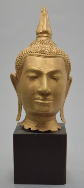 Buddha Head With Wooden Base