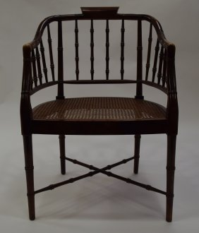 Barrel Back Bamboo Style Arm Chair