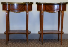 Pair Of Kidney-shaped Marquetry Side Tables