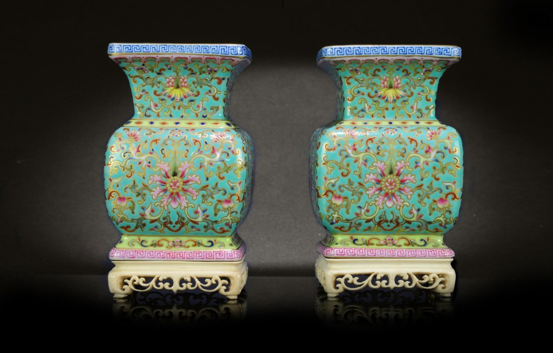 Pair of Rare Imperial Famille Rose Square Vases