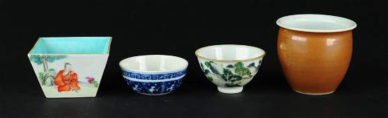 A Group of Four Chinese Porcelain Items