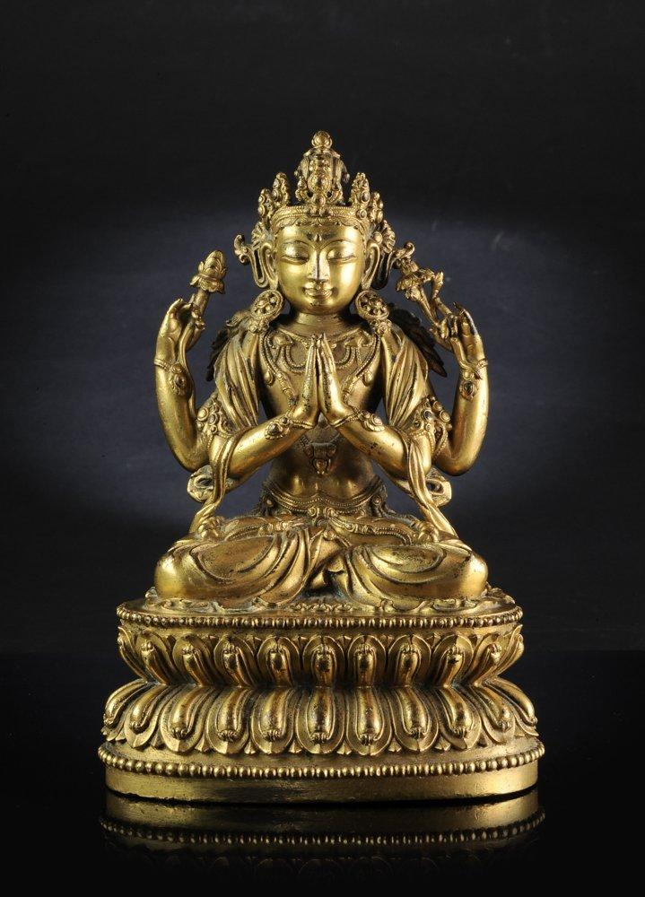 A Rare Gilt Bronze Figure of a Seated Bodhisattva