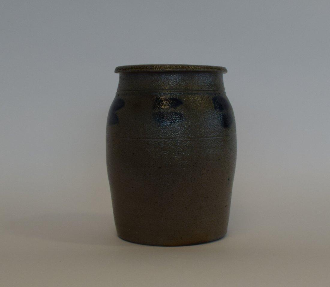 Grey Stoneware Pot with Salt Glaze & Cobalt Design