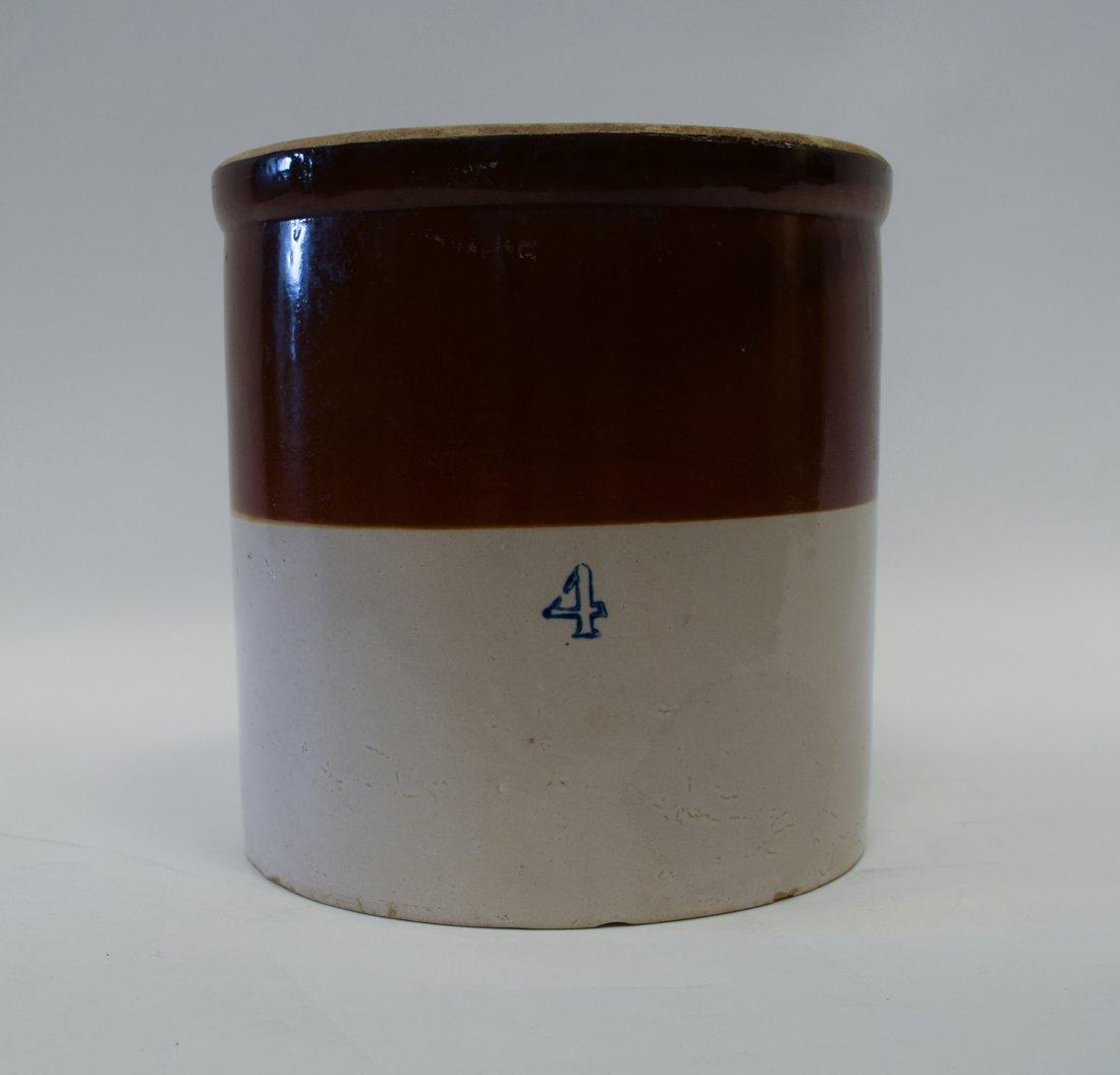 Large Brown & White Stoneware Crock
