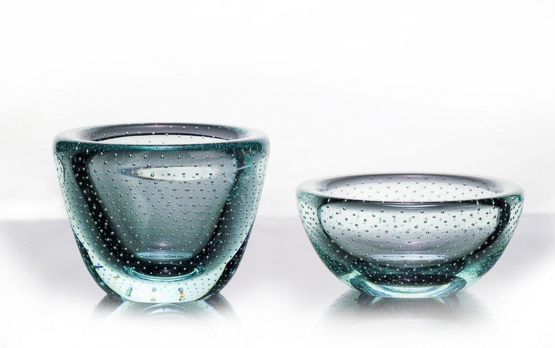 Pair of Small Aqua Glass Bowls