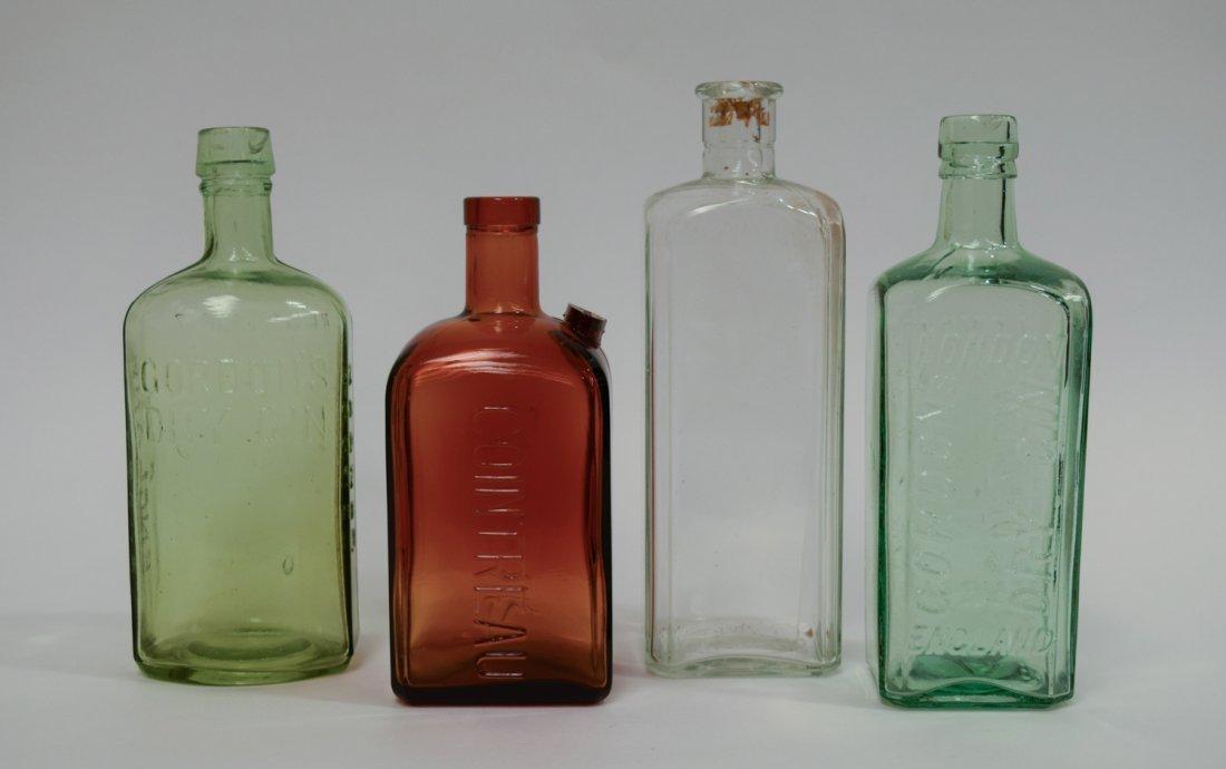 (4) Vintage Glass Liquor Bottles