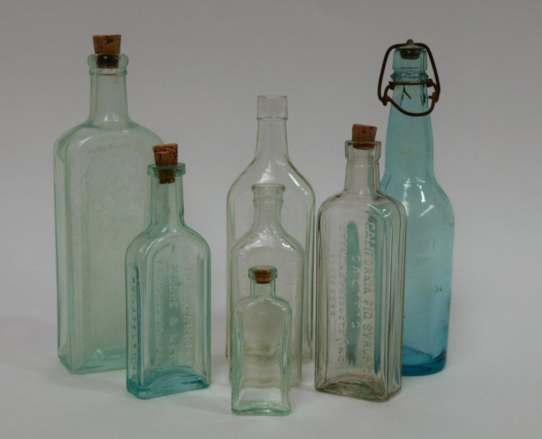 (7) Antique Glass Medicine Bottles