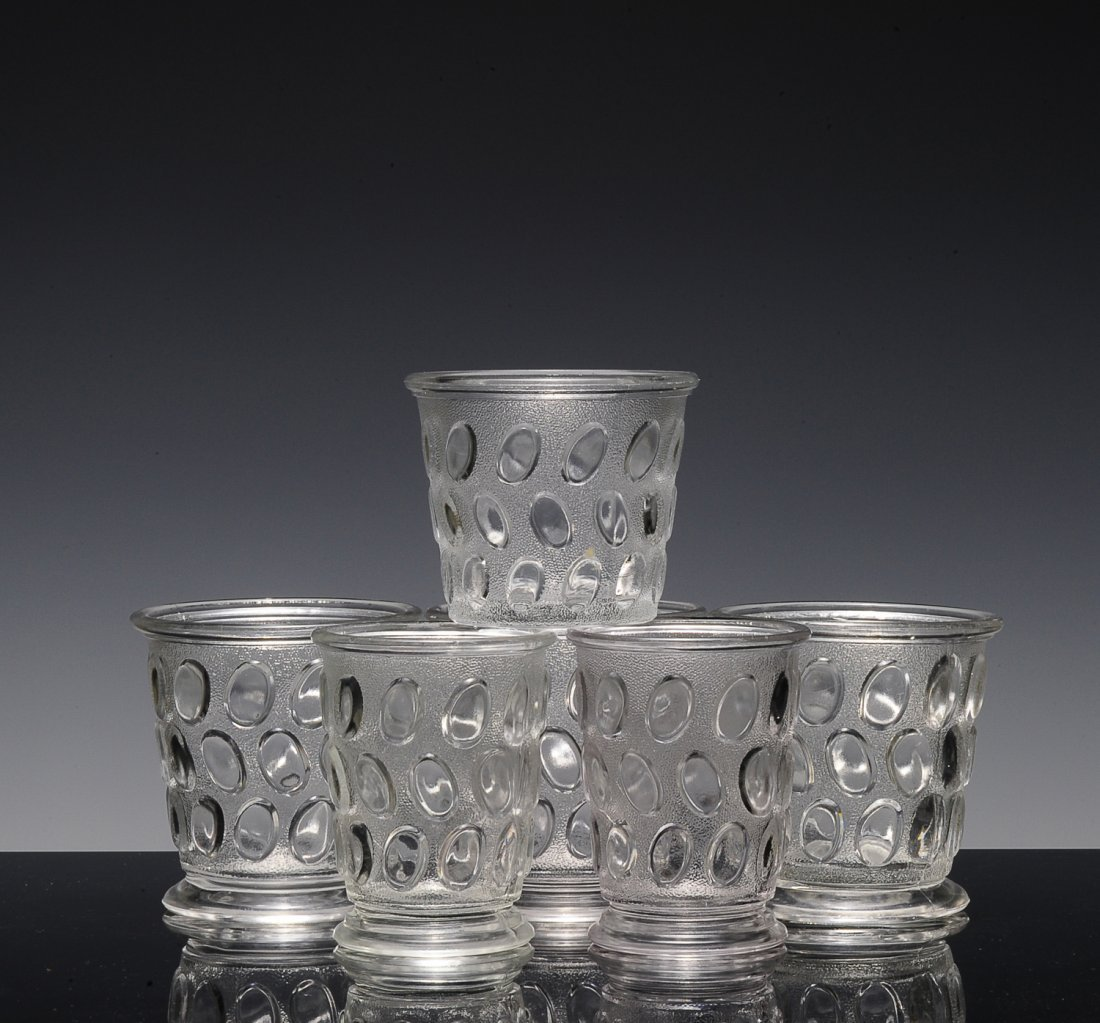 (6) Clear Cups/Bowls, Egg in Sand Pattern, EAPG