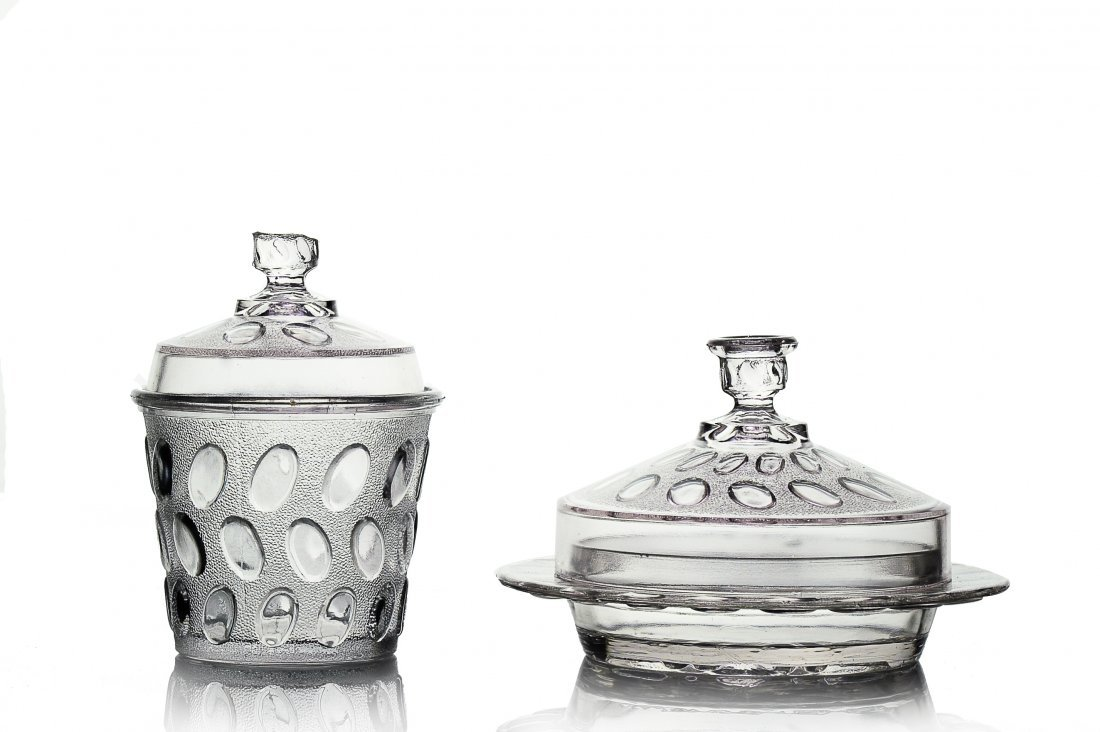 (2) Clear Egg in Sand Pattern Lidded Dishes, EAPG
