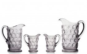 (4) Pitchers, Egg In Sand Pattern, Eapg