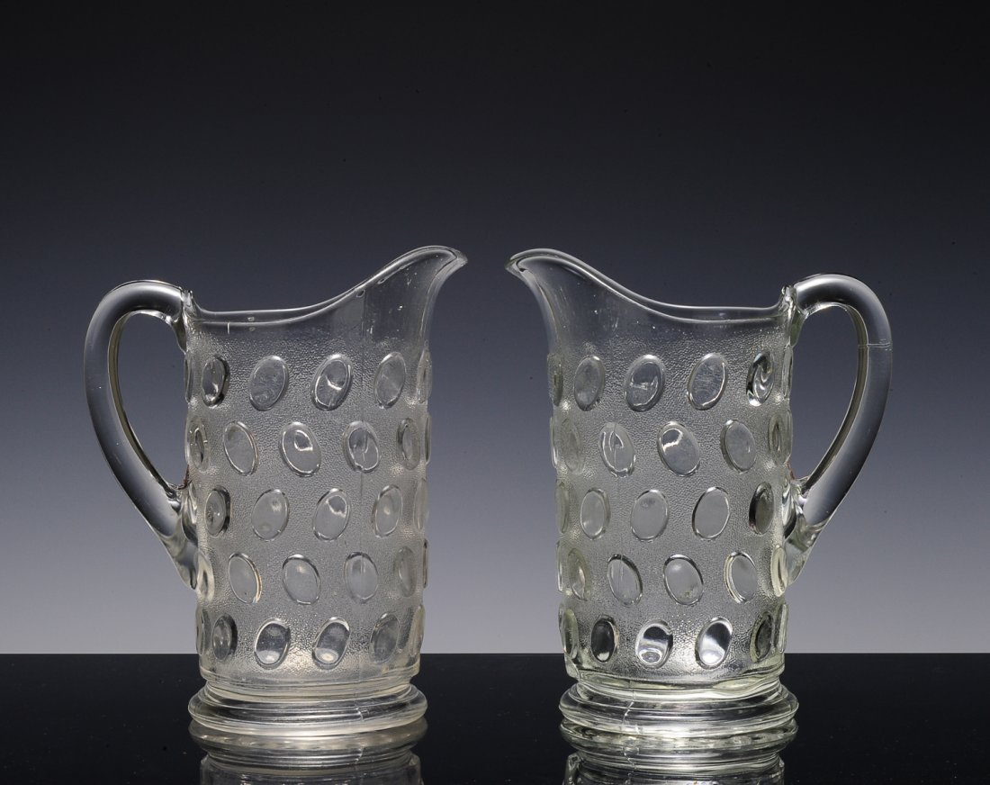 Two Egg in Sand Clear Glass Pitchers, EAPG