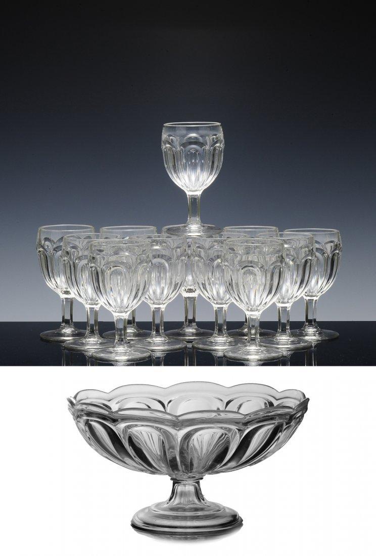 12 Wine Goblets & Compote Bowl, Loop Pattern EAPG