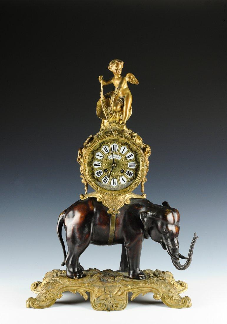 LeRoy Elephant & Cupid Ormolu Clock, France