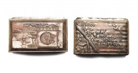 Pair Of Asian Style Trinket Boxes C. 1930s