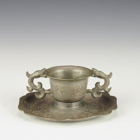 Antique Chinese Pewter Cup & Saucer