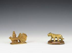 Cart & Tiger Brass Paperweights