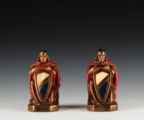 "Pair Of ""crusader"" Marion Bronze Clad Bookends"