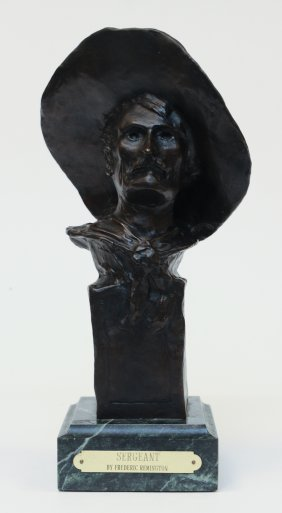 "Replica Remington Bronze Bust ,""sergeant"""