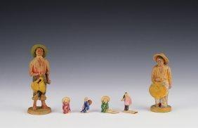 Four Miniature Ceramic & Two Terracotta Figurines