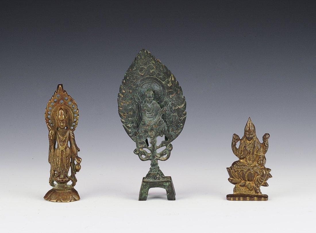 Three Small Bronze Bodhisattva Statues
