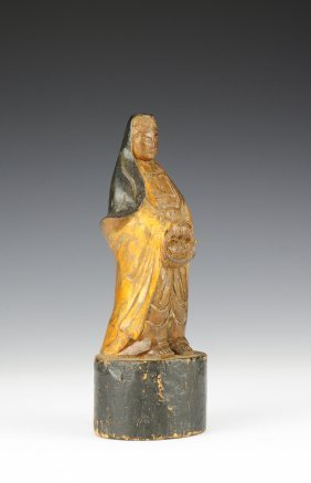 Painted Wooden Statue Of Figure Offering Fish