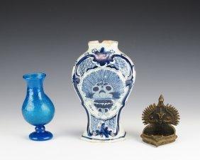 Two Vases And Brass Incense Burner