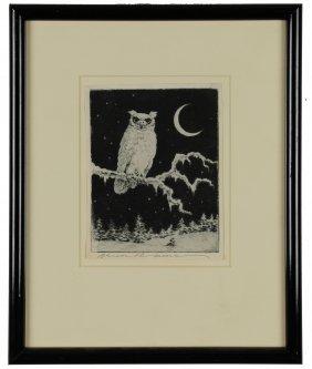 Owl Etching, Benson B. Moore
