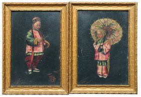 Pair Of Oil Paintings Of Chinese Children