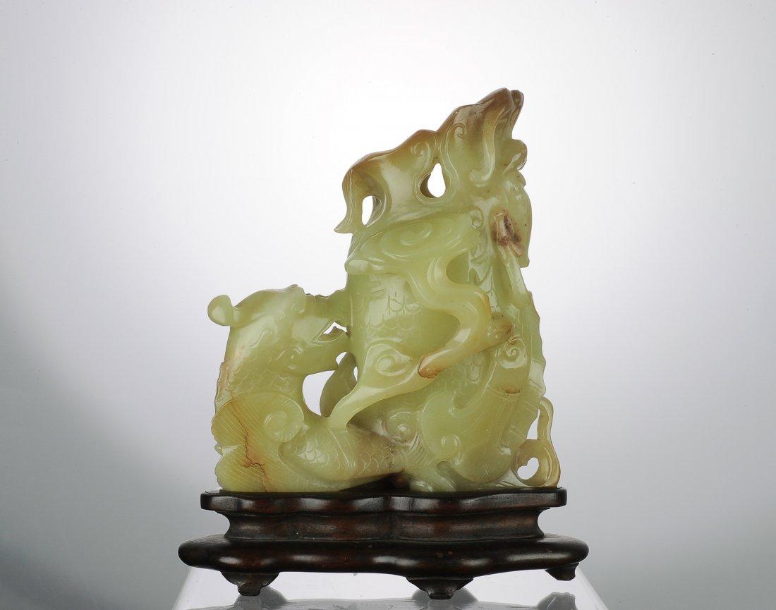 Yellow Jade Fish Dragon Vase, 18th Century