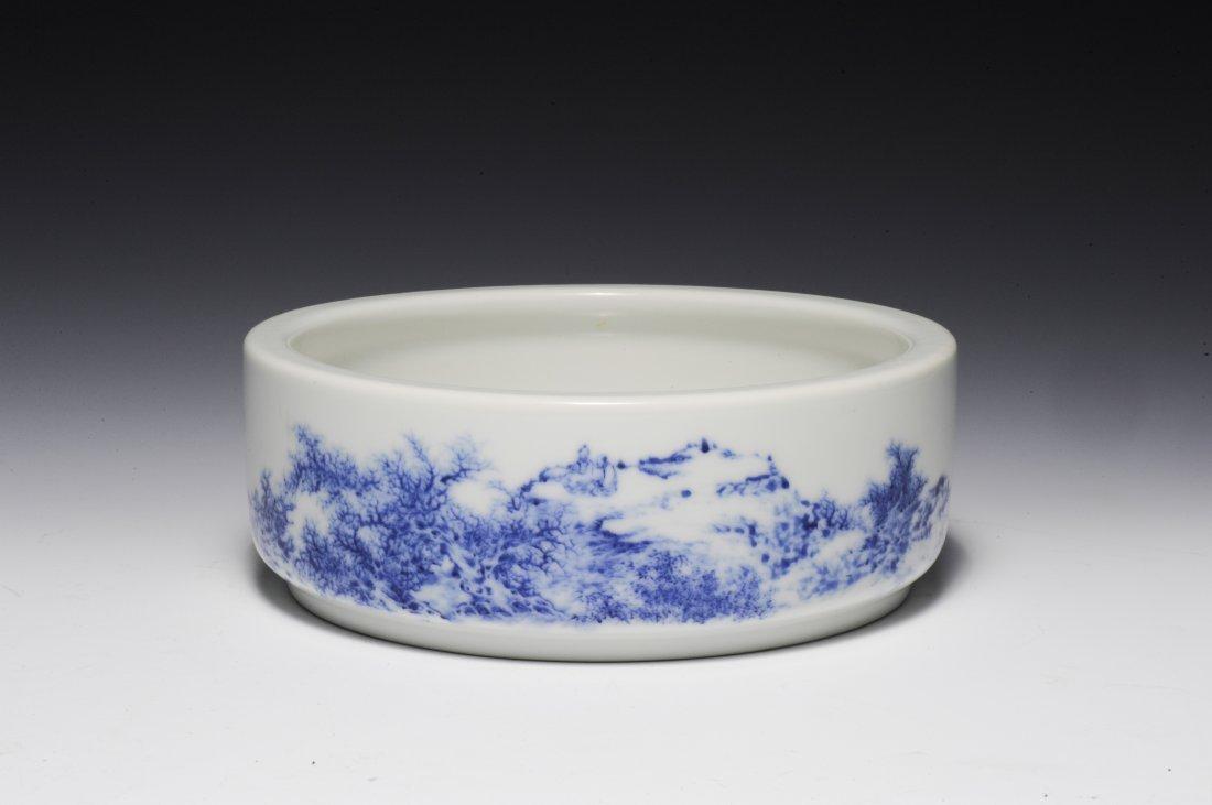 Blue & White Brush Washer, Wang Bu