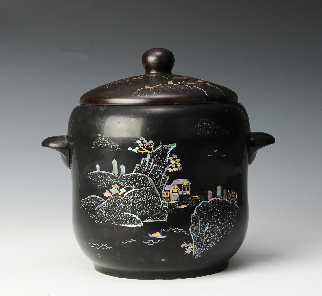 Mother of Pearl Inlaid Pot, Korean