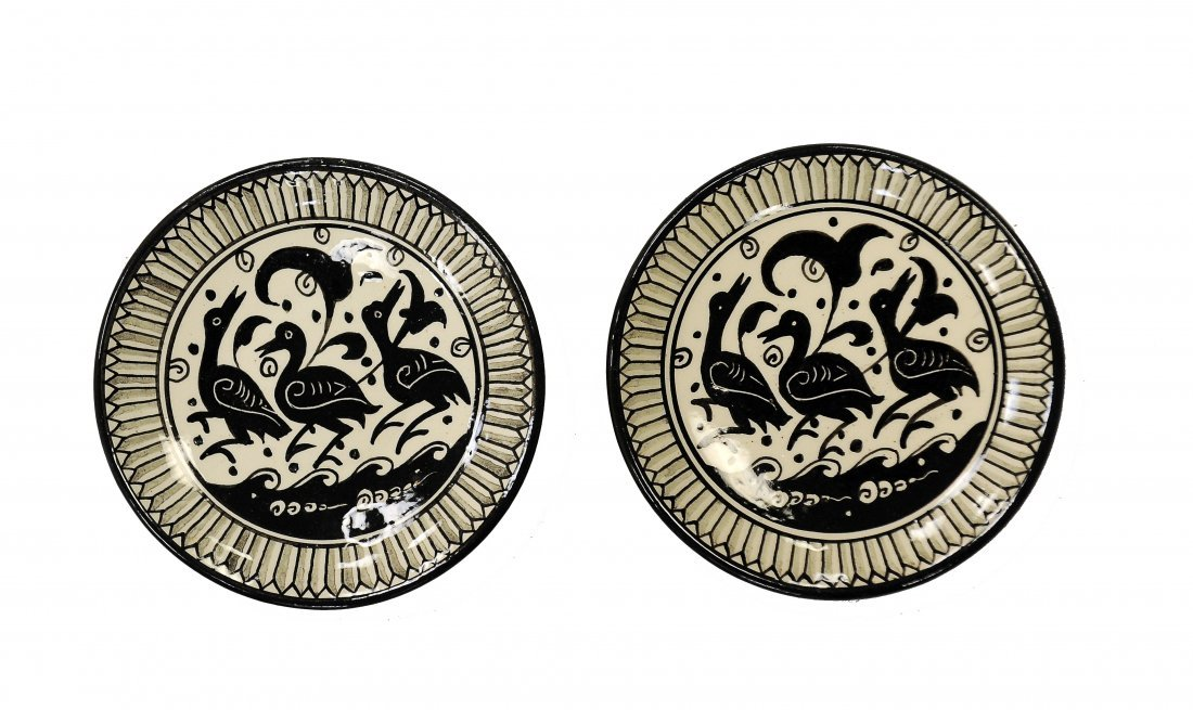 Pair of Black & White Plates, Jerusalem