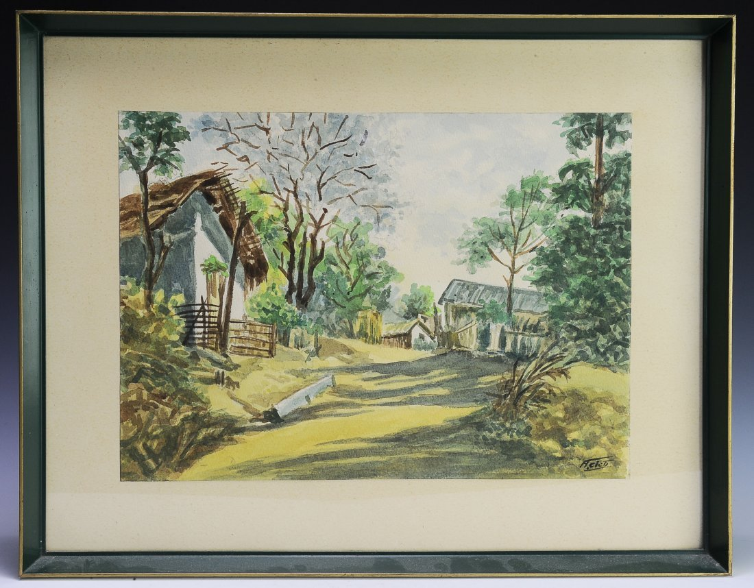 Watercolor of a Farm