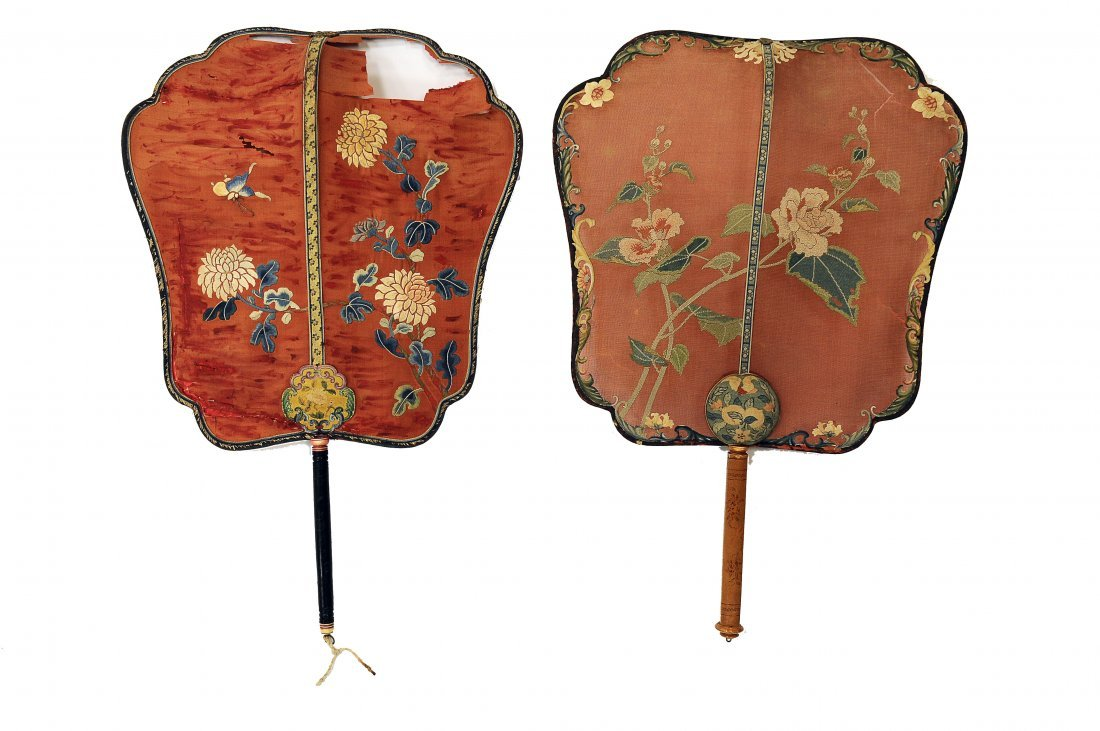 Pair of Embroidered Fans, Qing Dynasty