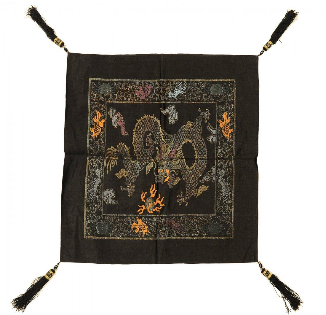 5-Claw Dragon, Black Pillowcase, 19th Century
