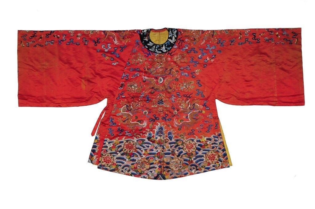 Small Red Ground Silk Dragon Robe, 19th Century
