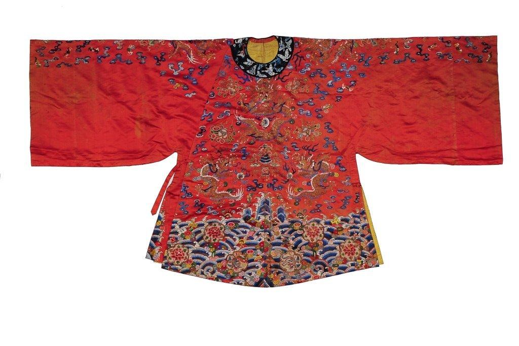 Small Red Ground Silk Dragon Robe, 19th Century - 2