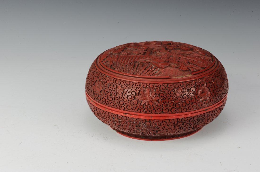 Circular Cinnabar Box - 3