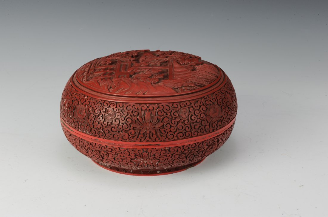 Circular Cinnabar Box - 4