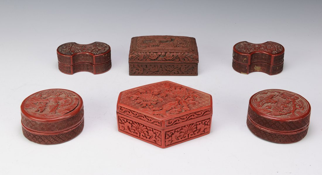 Group of 6 Cinnabar Boxes